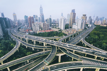 Elevated view of a Road Junction in Shanghai.