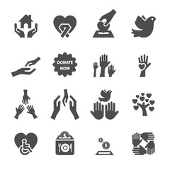 charity and donation icon set 8, vector eps10