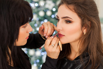 Professional make-up for model close-up picture