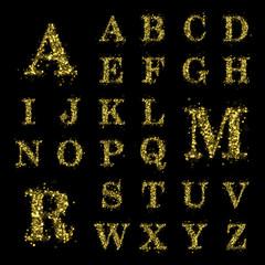 Sparkling golden glitter sequins font set A to Z