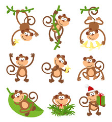 Playful monkeys character vector set. Chinese zodiac 2016 New Year symbols