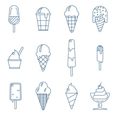 Line art icecream icons