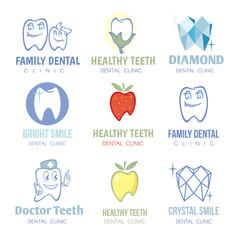 Dental and stomatology logos vector set