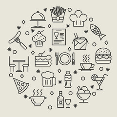Restaurant and foods outline icons set
