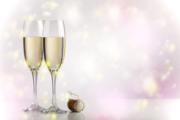 Two champagne glasses with copy space