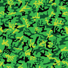 Seamless forest green, lime and black colored military camouflage pattern for forest disguise - Vector and illustration