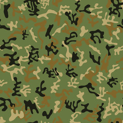 Seamless green, brown and black colored military camouflage pattern for land and forest disguise - Vector and illustration