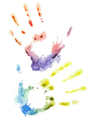 Vector colorful watercolor hand