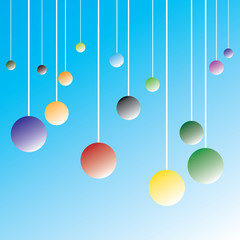 Colorful T-shirt graphic design with bubbles dangling from the ceiling - Vector and illustration