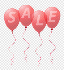 transparent red balloons with the inscription sale vector illust