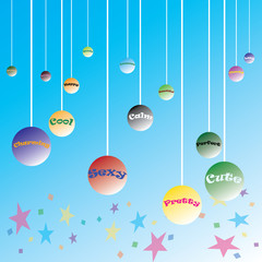 Colorful T-shirt graphic design with adjective written bubbles dangling from the ceiling - Vector and illustration
