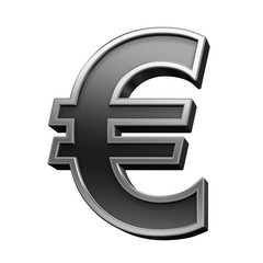 Euro sign from black with silver shiny frame alphabet set, isolated on white. Computer generated 3D photo rendering.