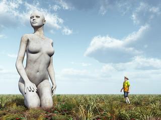 Skulptur einer knienden Frau und Betrachter