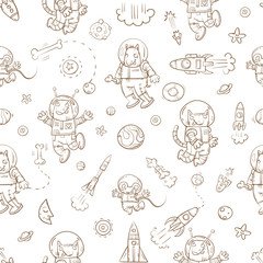 Space vector seamless pattern with cartoon animals astronauts, rockets, stars and planets on  white background.