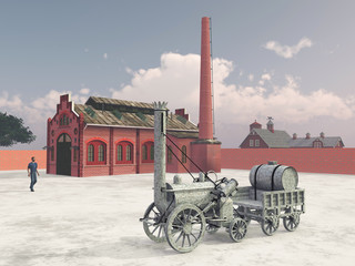 British steam locomotive from 1829 and train service station