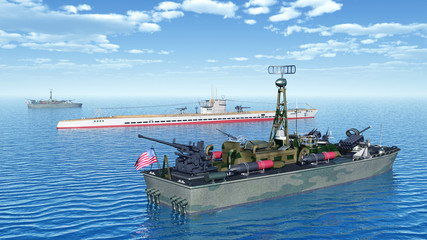 US torpedo boats and German submarine of World War II