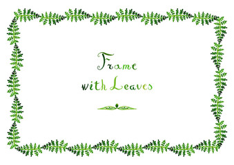 Watercolor fern leaves vector frame with handwritten text (horizontal in green colors)