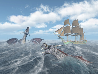 Sea monsters and sailing ship in the stormy ocean