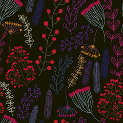 Seamless pattern with flower, rowan and leafs.