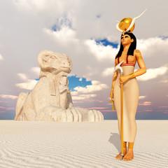 Göttin Hathor und Sphinx