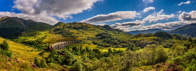 Panorama of Glenfinnan Railway Viaduct in Scotland and surroundi Wall mural