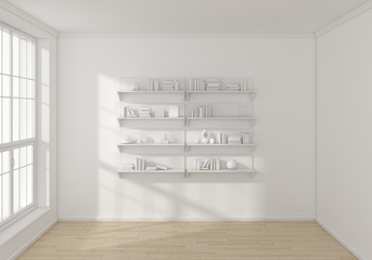 3d rendered bookshelves.