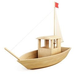 Wooden toy sailboat. 3d.
