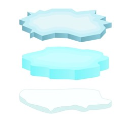 Ice floe icon set, symbol, design. Winter vector illustration isolated on white background.