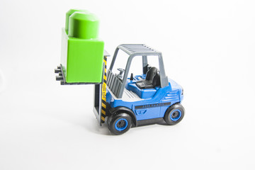 Forklift with green  cube