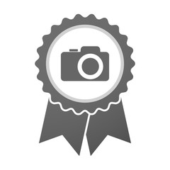 Vector badge icon with a photo camera
