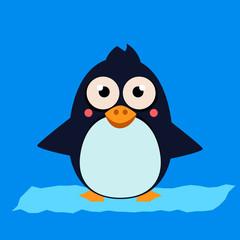 Penguin Standing on Ice. Vector Illustartion
