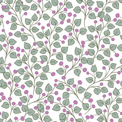 Art Deco vintage pattern with sprigs and berries