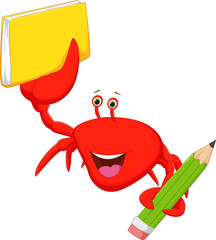 happy crab cartoon with books and pencil