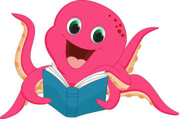 happy octopus reading a book