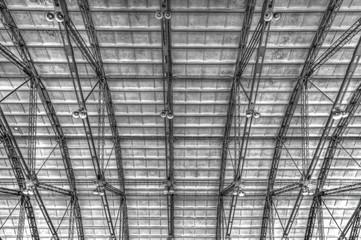 Metal roof on industrial building inside view