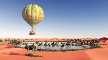 Fantasy hot air balloon over a desert oasis