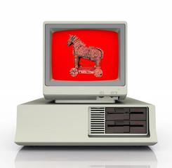 Warnsymbol für das Computerprogramm Trojanisches Pferd auf einem PC Monitor