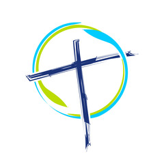 World Ministry Brush Abstract Cross