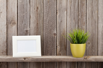 Blank photo frame and plant
