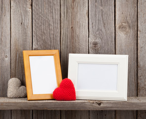 Blank photo frames and heart gifts