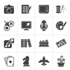 Black Hobbies and leisure Icons - vector icon set