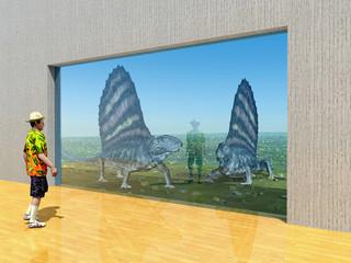Zoobesucher und der Pelycosaurier Dimetrodon hinter einer Glasscheibe