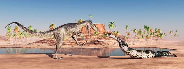 Megalosaurus and Titanoboa attacking each other