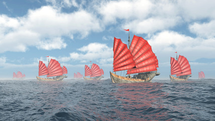 Fleet of Chinese junk ships