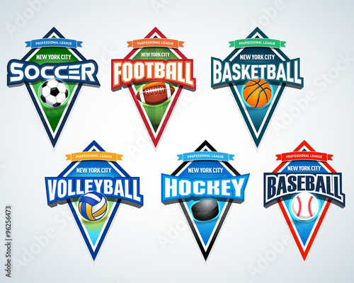 mega set of colorful sports logos soccer football basketball