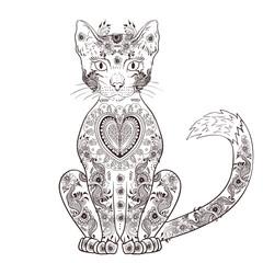 Cat zentangle, doodle cat, mehendi - vector illustration
