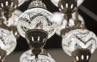 Brass chandelier with crystal. Part of chandeliers ceiling fixtures.