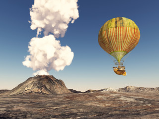 Fantasy hot air balloon over a volcanic landscape