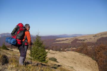 Hiking in Caucasus mountains.