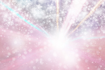 Lovely abstract blurred bright purple color bokeh circles and snowflakes with motion blurred beam light background. Abstract New Year and Christmas celebration illustration copy space background.